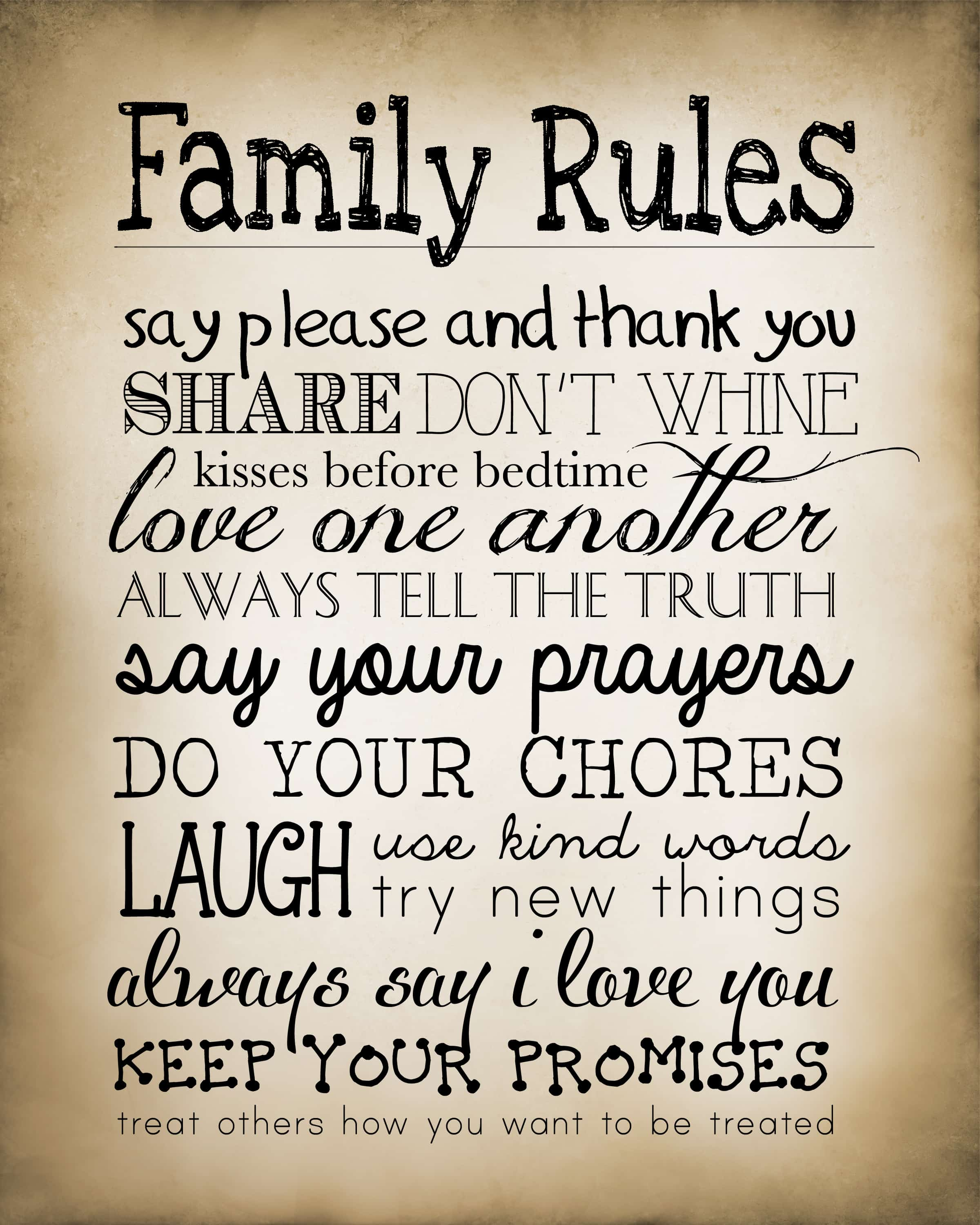 Family Rules Free Printable How To Nest For Less