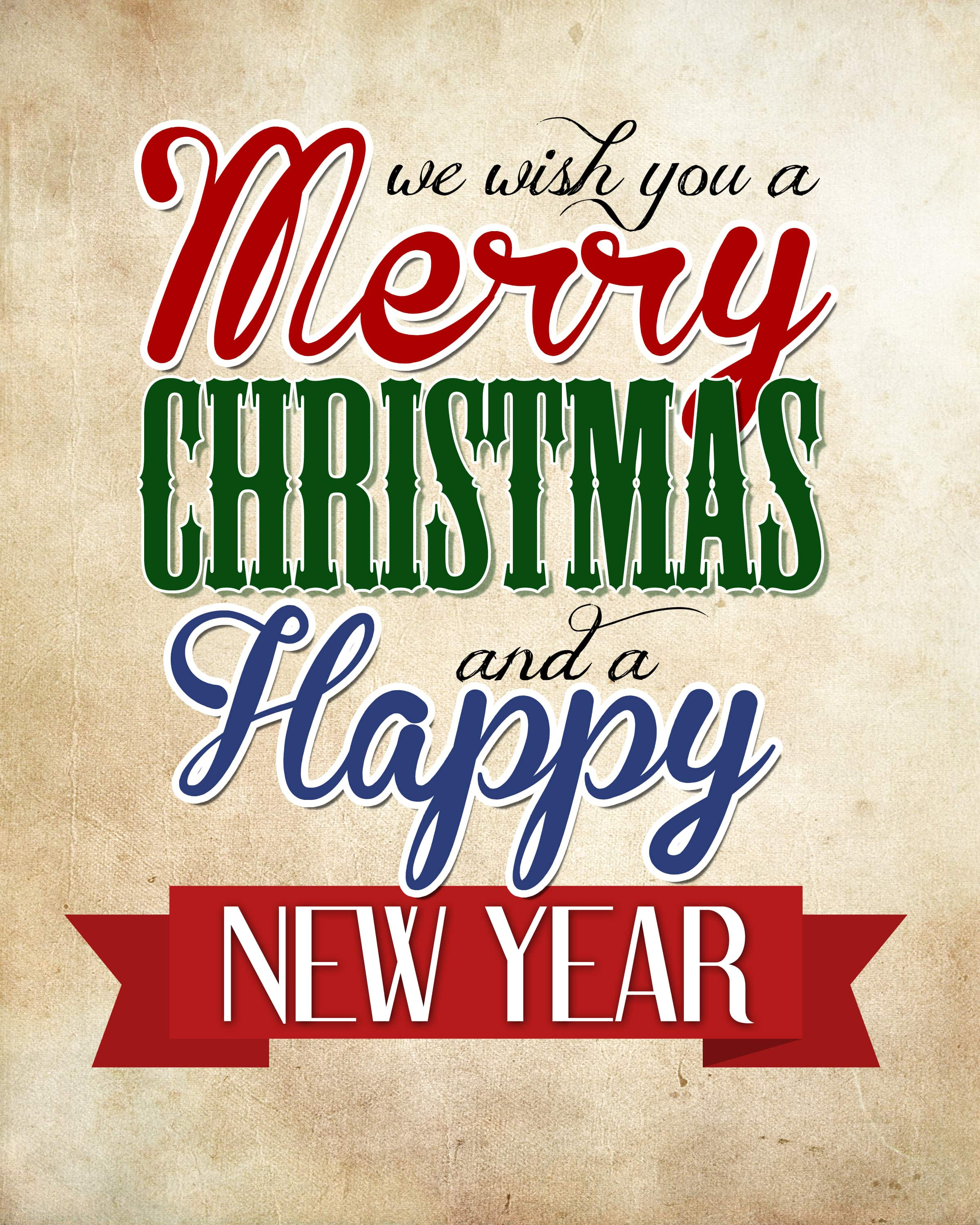 graphic relating to Merry Christmas Printable called Merry Xmas Joyful Fresh Yr Absolutely free Printable - How toward