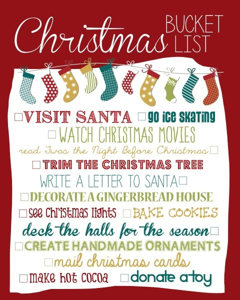 Christmas Bucket List 2013