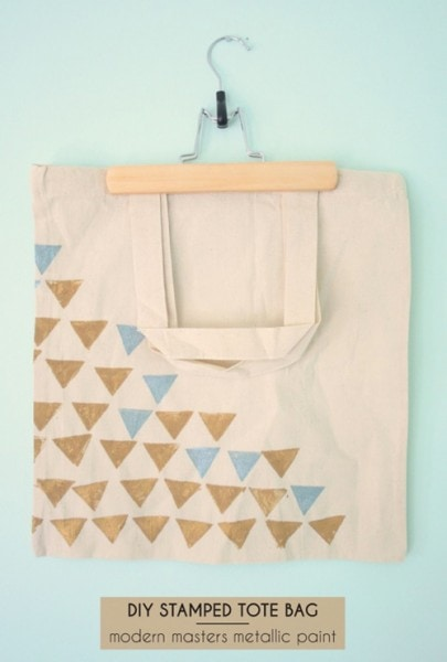 DIY stamped metallic tote bag