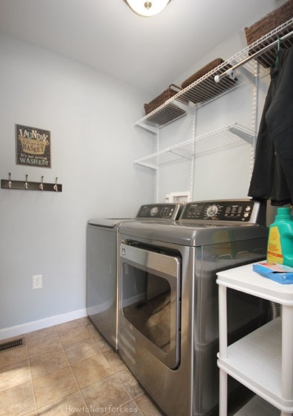 blue laundry room makeover