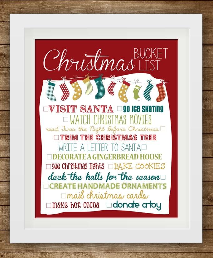 Christmas Bucket List 2013 {free printable}