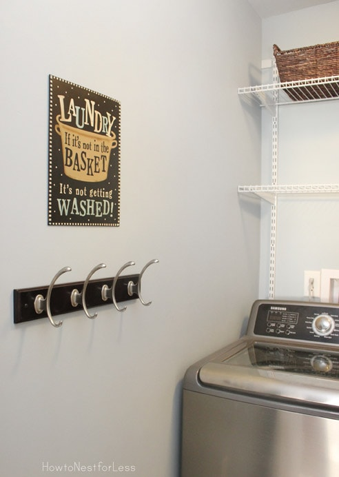 laundry room hooks and sign