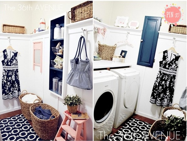 laundry room makeover black and white