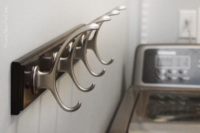 laundry room makeover hooks