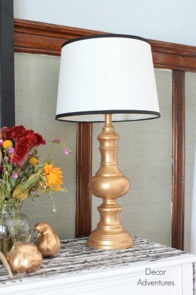 metallic gold painted lamp