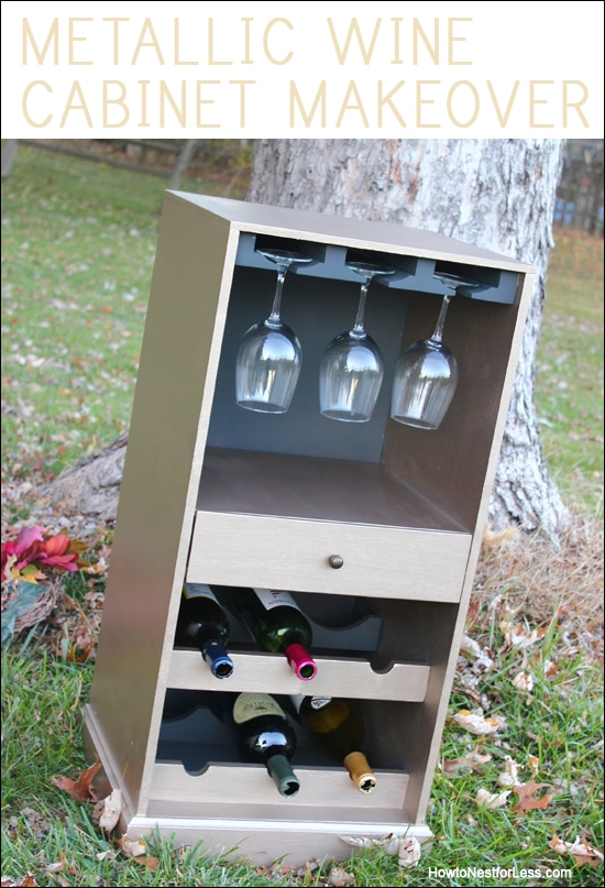 metallic wine cabinet makeover