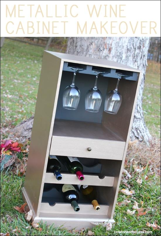 metallic wine cabinet makeover