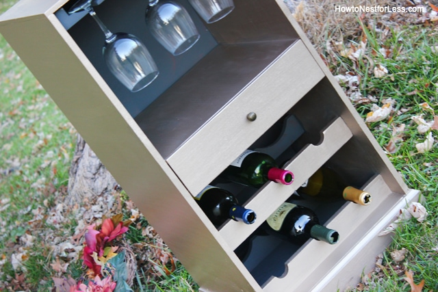 metallic wine cabinet