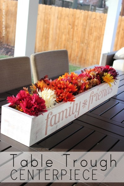 table trough flowered centerpiece