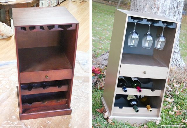 wine cabinet before and after makeover