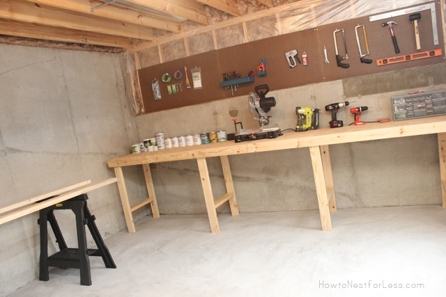 garage workshop bench ideas - Weekend Project Basement Workshop How to Nest for Less™