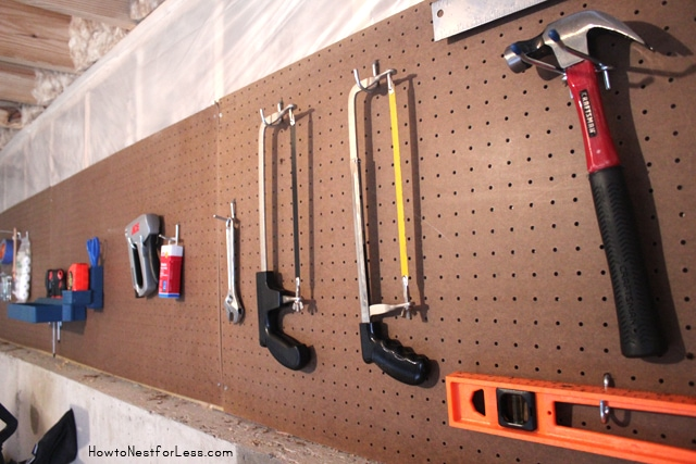 basement workshop pegboard