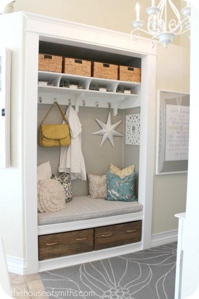 Entryway ClosetMudroom makeover - thehouseofsmiths.com