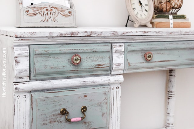 chalk paint distressed kids desk