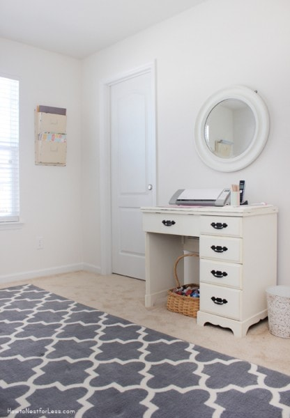 craft room sewing desk wall