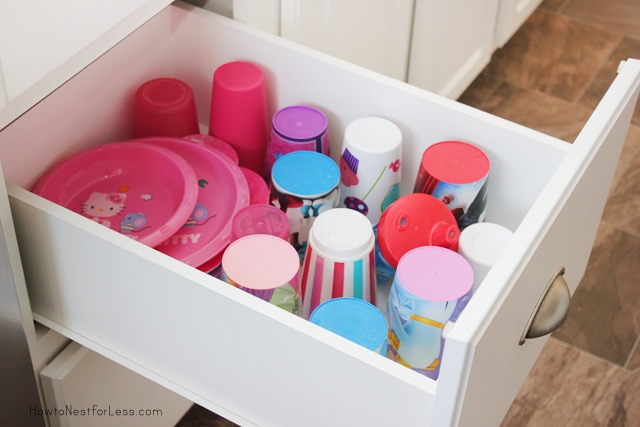 kid cup drawer organized kitchen