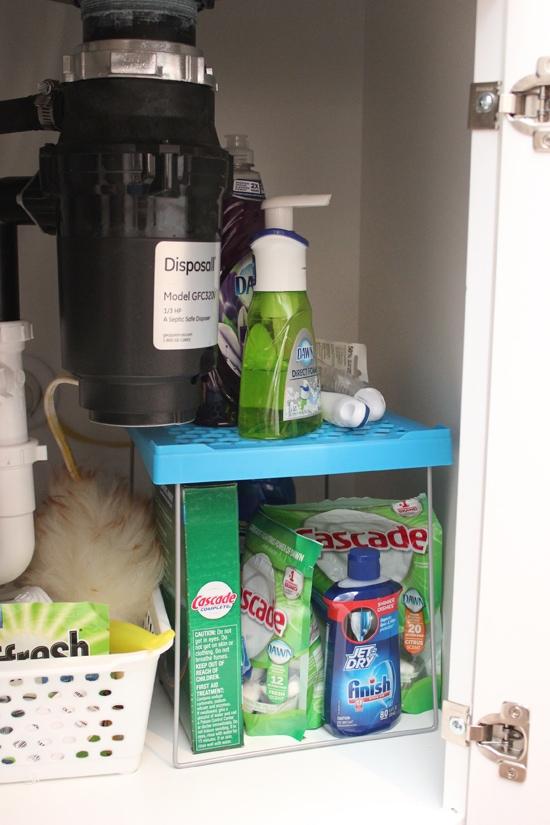 organization tips for under kitchen sink