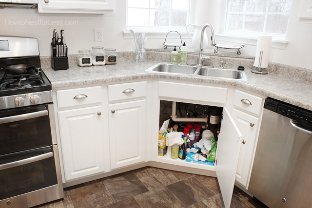 organize kitchen sink cabinet