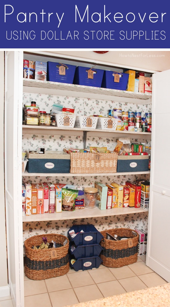 pantry makeover using dollar store supplies