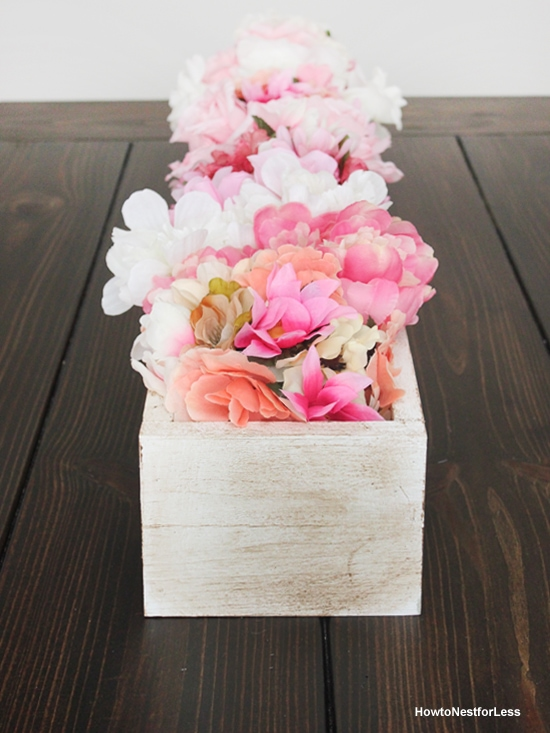 DIY flower centerpiece box planter