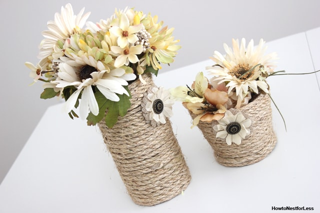 DIY rope vase centerpiece