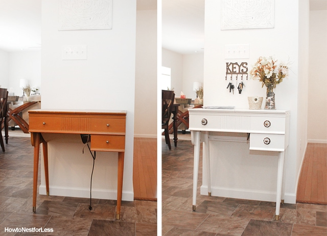before and after sewing table