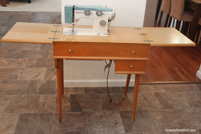 before sewing table makeover