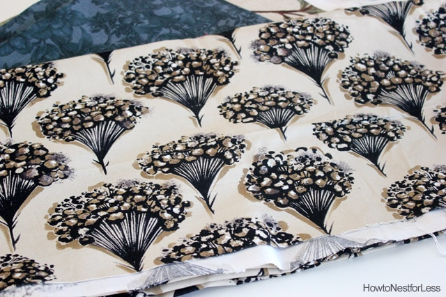 black and gold flowered fabric