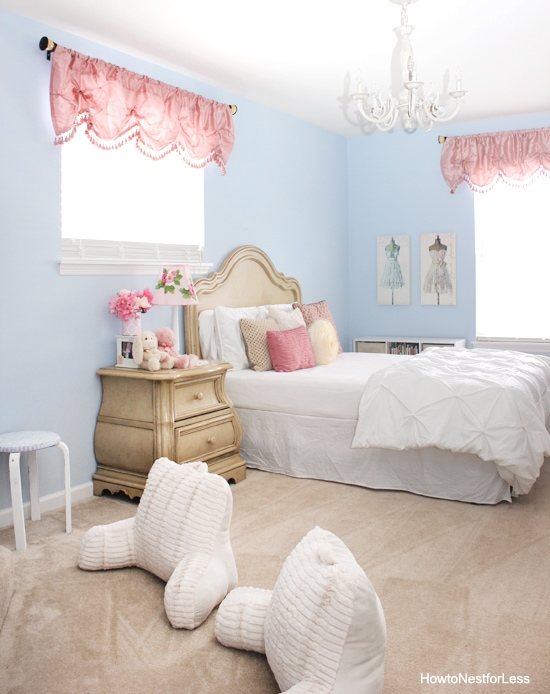 blue and pink girl bedroom makeover
