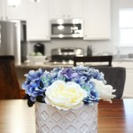 blue flowered DIY centerpiece