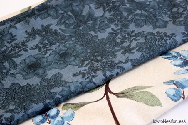 blue flowered kitchen fabric