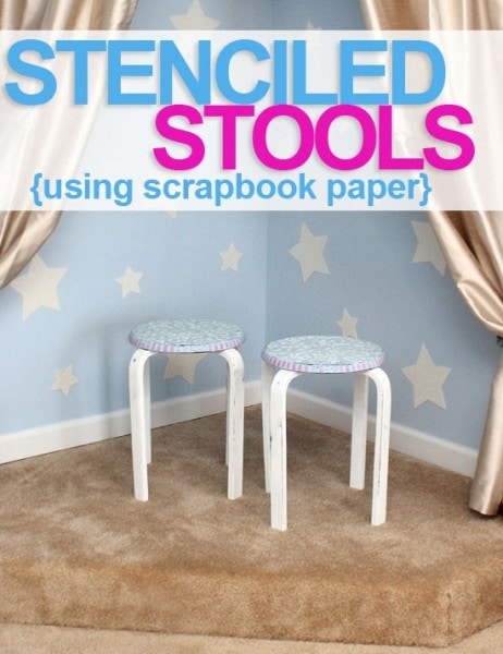 Chalk paint stenciled stool tutorial graphic.