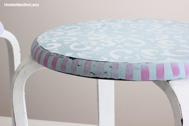 chalk paint stenciled stool