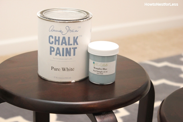 A can of Annie Sloan chalk paint in a can on the stool.