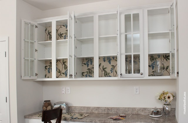 fabric lined cabinets