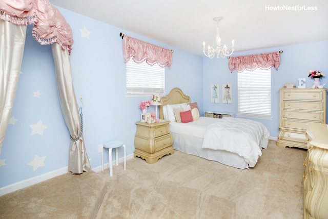 girl bedroom makeover blue and pink