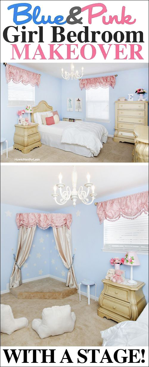 girl bedroom makeover with stage