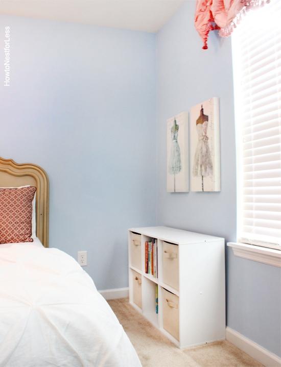 girl pink blue bedroom