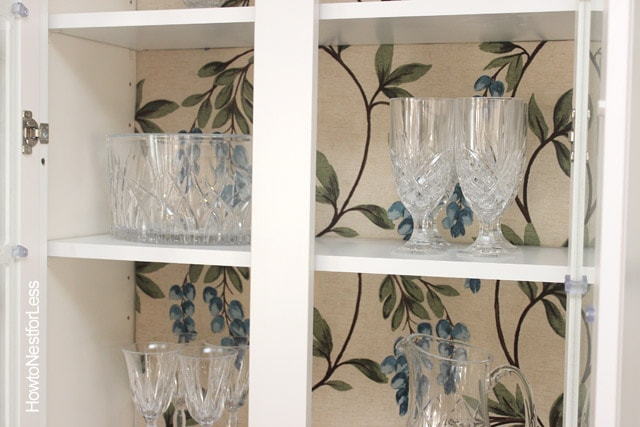 lined glass front cabinets