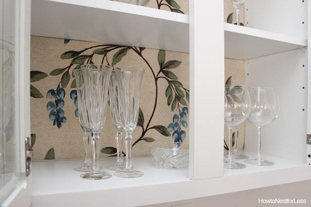 lined kitchen cabinet makeover