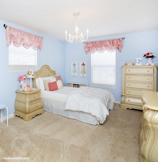 Daughter 39 s bedroom reveal how to nest for less for Pink and blue bedroom