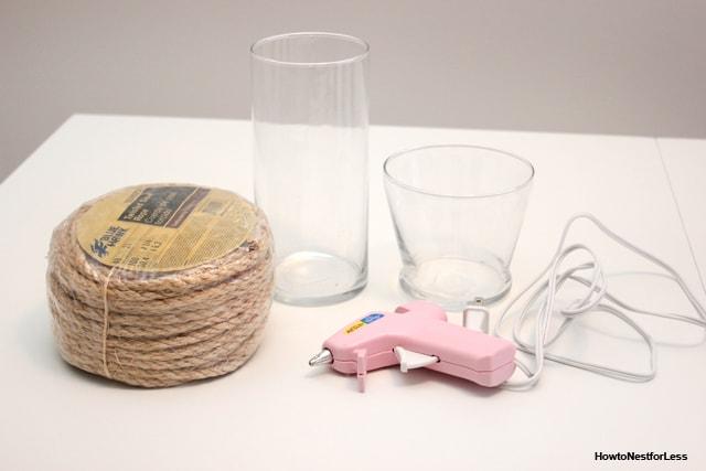 rope vase centerpiece supplies