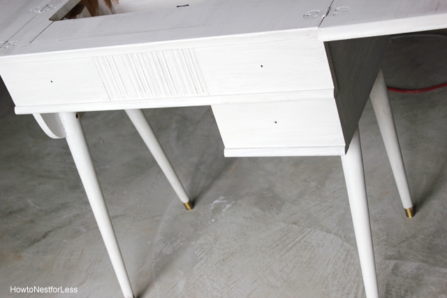 sewing table makeover chalk paint