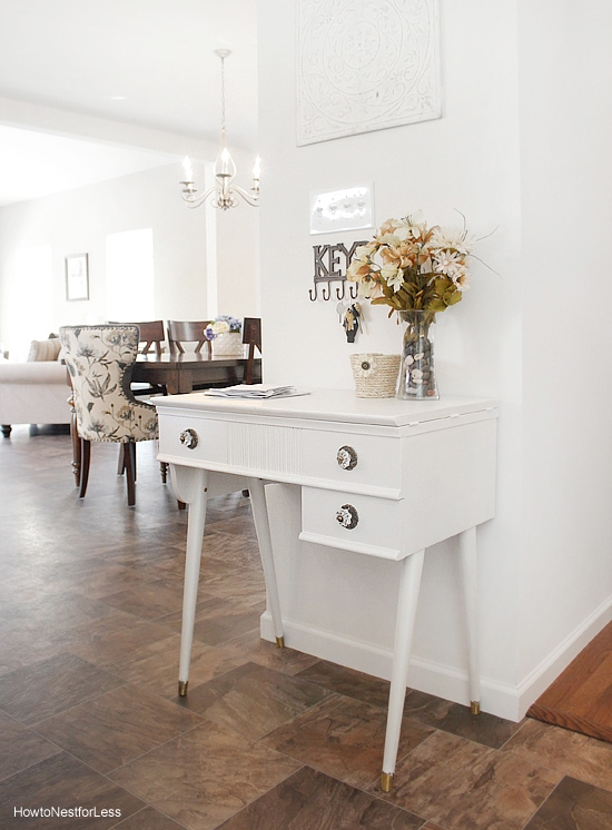 white foyer table makeover