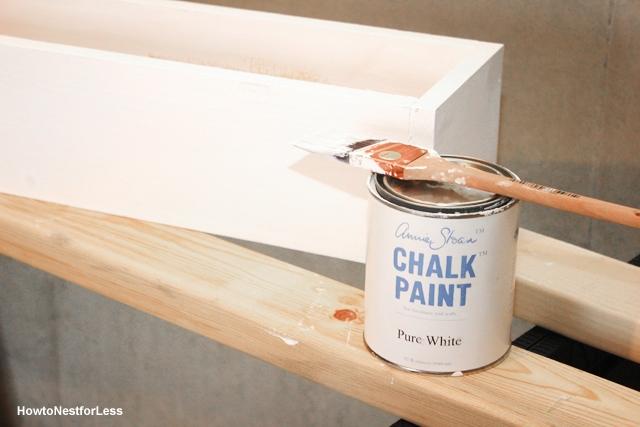 white wood planter centerpiece