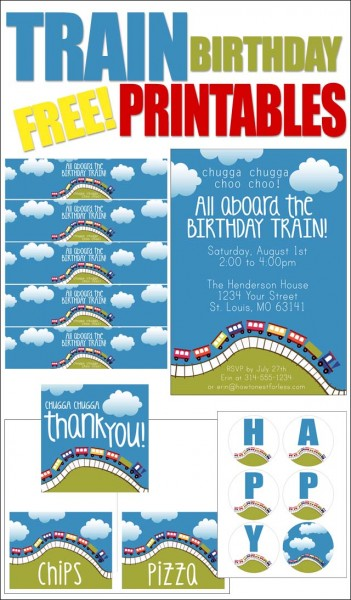 TRAIN BIRTHDAY PARTY FREE PRINTABLES