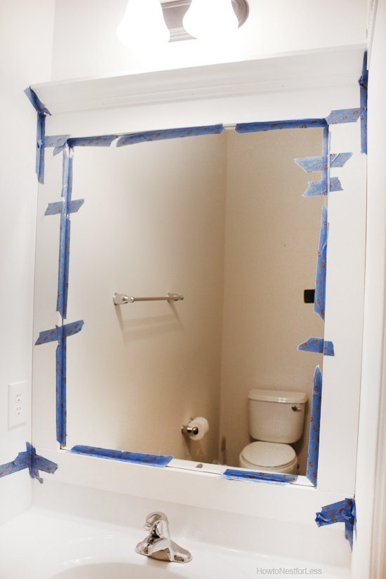 Mirror Decoration frame builder grade mirror : ... holes. And then stand back and admire your new framed bathroom mirror