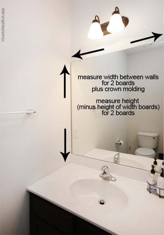 frame out builder grade bathroom mirror