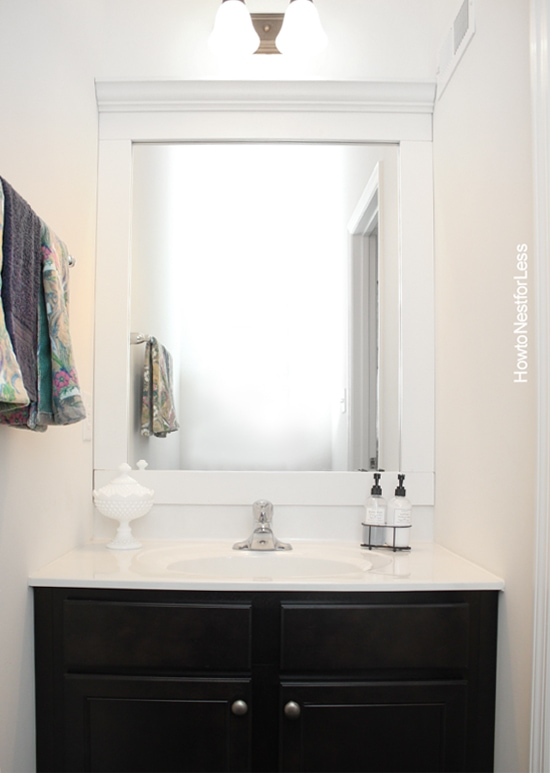 bathroom framed mirrors powder room makeover how to nest for less 10744